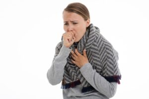 Woman with suffering with influenza